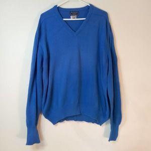 Vintage 1980's Burberrys Men's Blue Sea Island Cotton Sweater, XL